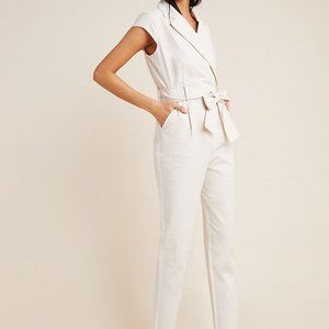 NWT Anthropologie Ivory White Dress Jumpsuit 14